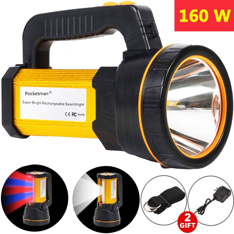 160w lanterna led 800m de longo alcance poderoso acampamento led tocha à prova dwaterproof água holofote uso longo usb recarregável com sidelight