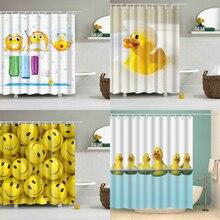 Kids Cartoon Shower Curtain 3d Yellow Cute Rubber Duck Print Bath waterproof curtains for Shower Bathroom Decor 180x200cm