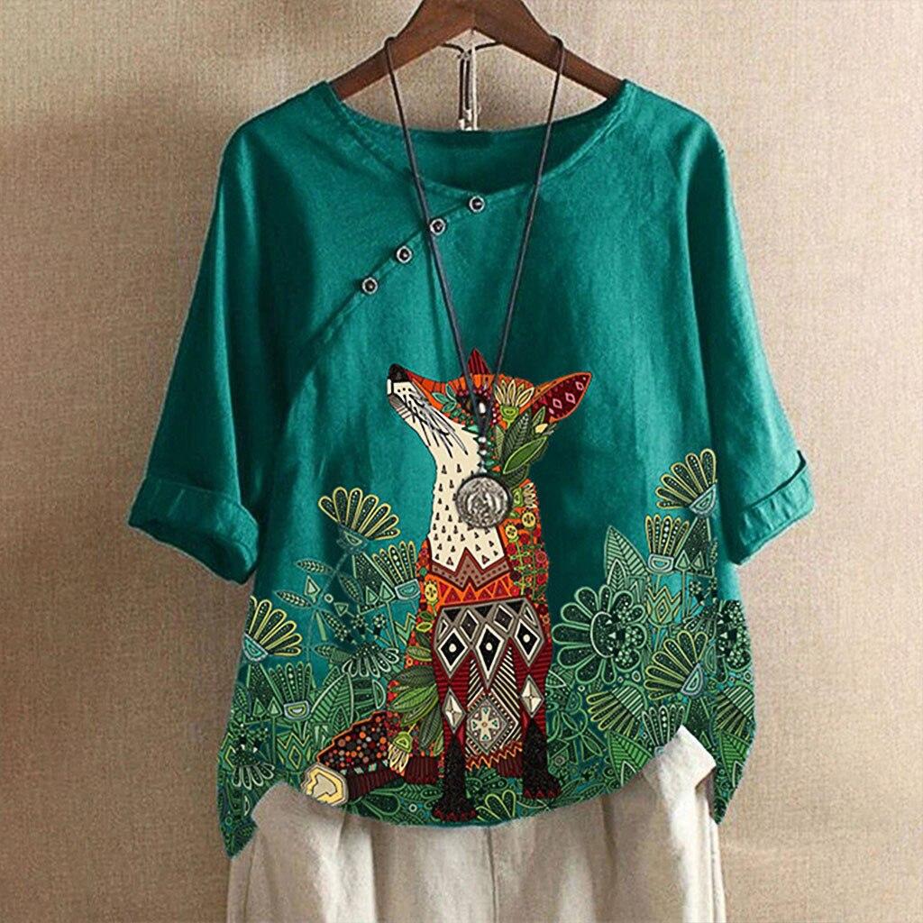 Mujer Fox impreso camisa dama blusa-breasted Casual suelto Buttontop ropa de talla grande Boho tánico camisa blusa # g2
