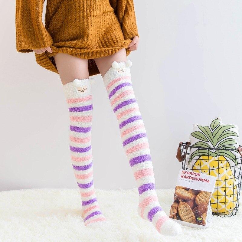 Calcetines elásticos divertidos para fiesta, calcetines de invierno de lana coral con bonitos dibujos animados para suelo, calcetines para mujer con garra de gato, calcetines para van, calcetines gogh meias con purpurina