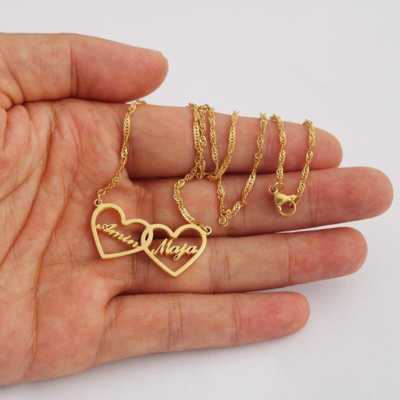 Ожерелье с двумя сердечками на заказ для мамы и дочки, персонализированное ювелирное изделие, колье для дочки, Золотое и серебряное ожерелье, Bijoux BFF, подарок