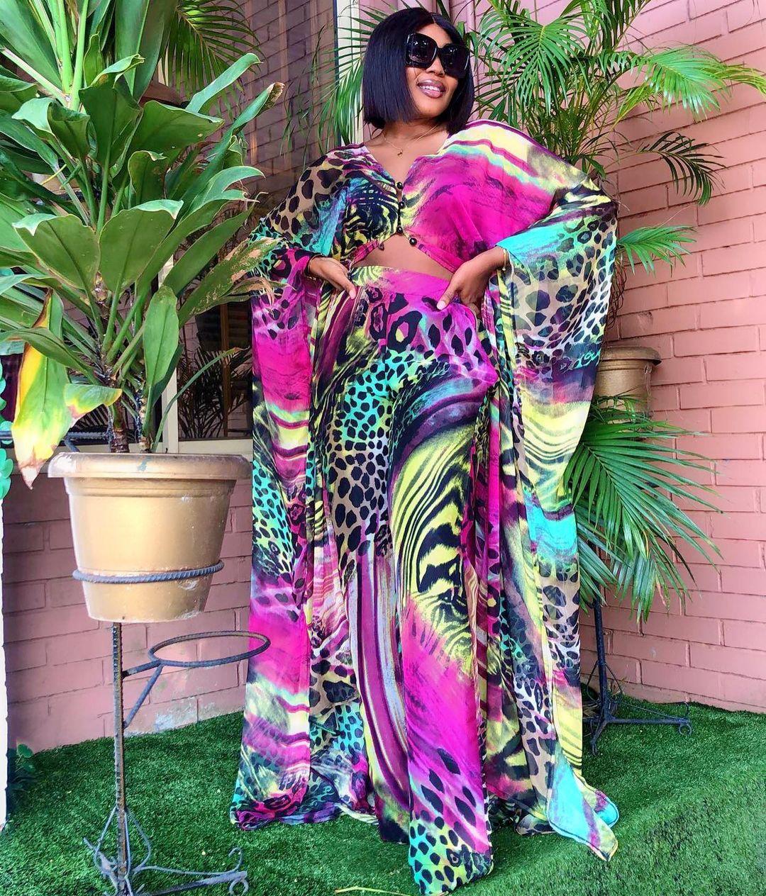 2021 قمة الموضة 2 قطعة مجموعة فساتين الأفريقية للنساء قطعتين مجموعات الشيفون طباعة طويلة Abaya فضفاض فستان أطفال مع سروال داخلي دعوى Vestidos