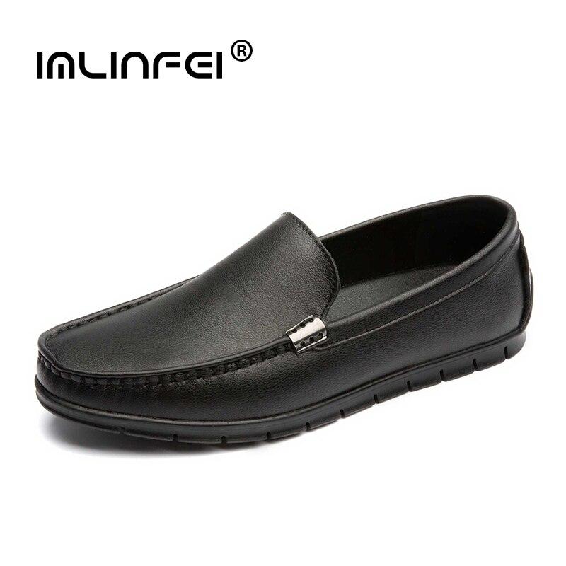 IMLINFEI мужские туфли из натуральной кожи, дышащая повседневная обувь, обувь для вождения из коровьей кожи, топ-сайдеры