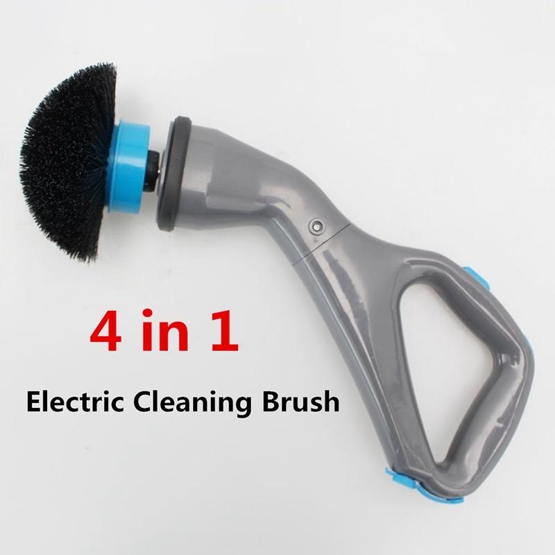 Cepillo de limpieza eléctrica sin cable huracán 4 Uds cepillo de limpieza eléctrica con cabezales de cepillo baño superficie bañera ducha cepillo para azulejos EU P