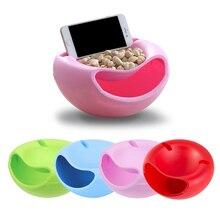 크리 에이 티브 멀티 스타일 모양 게으른 스낵 그릇 플라스틱 더블 레이어 스낵 스토리지 박스 그릇 과일 접시 전화 홀더와 TV