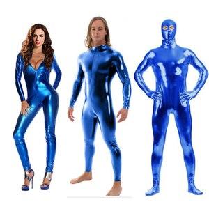 custom crotch zipper Shiny Lycra Spandex Shiny lake blue women's Unitard Catsuits Metallic Footed Zipper Zentai Bodysuit