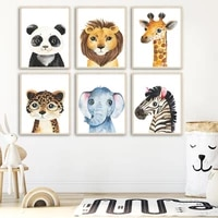 cartoon elephant lion zebra panda giraffe wall art canvas painting nordic posters and prints wall pictures baby kids room decor
