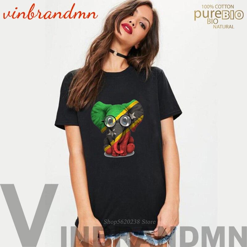 Elefante bonito feminino camiseta animal impresso senhoras verão vogue t camisas bebê elefante com óculos e são cristóvão bandeira topos t
