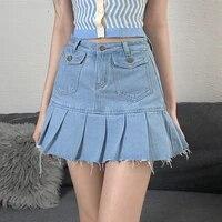 summer women burr high waist denim skirts 2021 pocket stitching mini skirt sexy temperament slim a line pleated skirt cowgirl