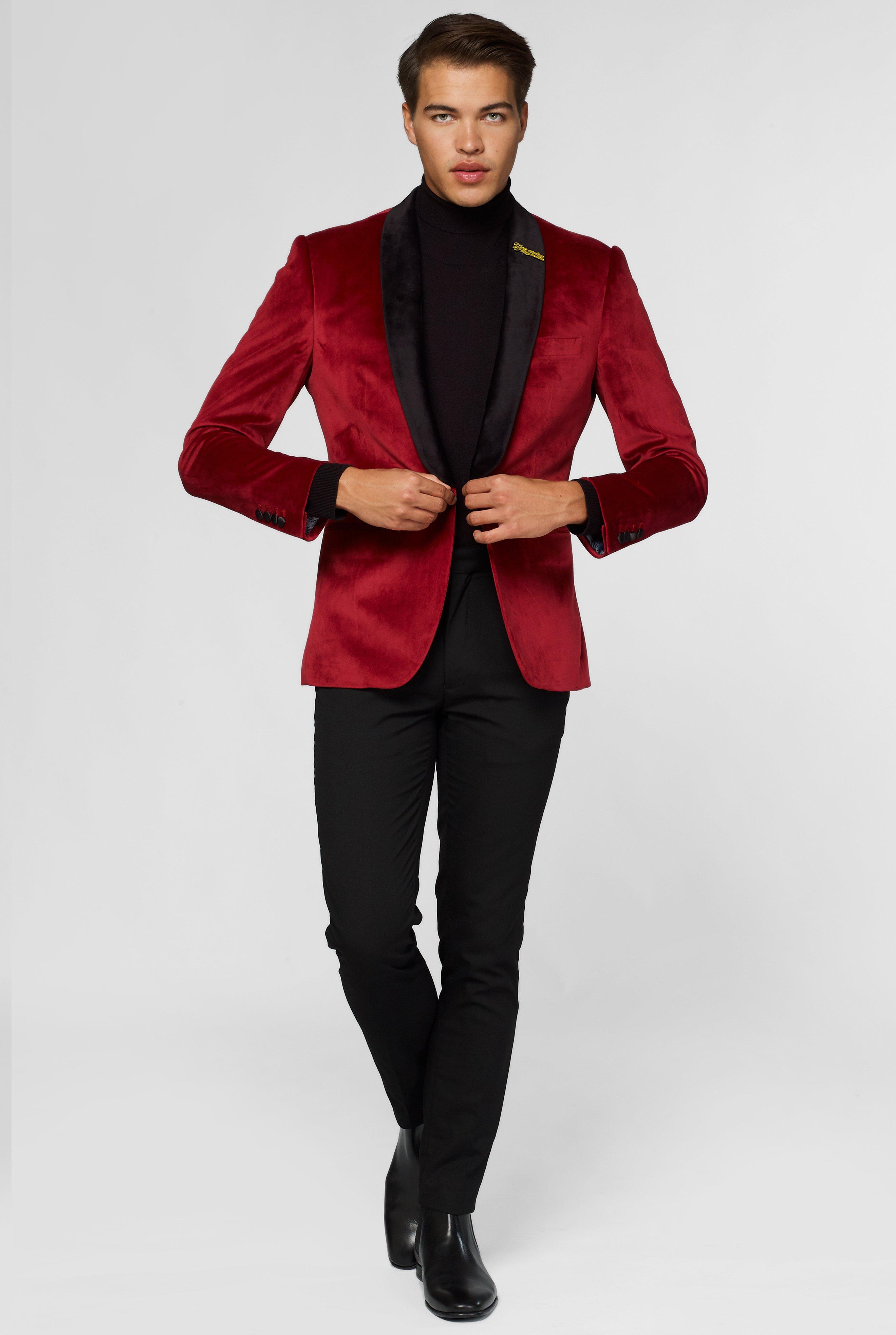 Velet-سترة بدلة رجالية مخصصة ، لون نبيذ أحمر ، ملابس الشارع النحيف ، تصميم سميك ، لحفلات الكوكتيل ، الزفاف ، أفضل بدلة رجالية