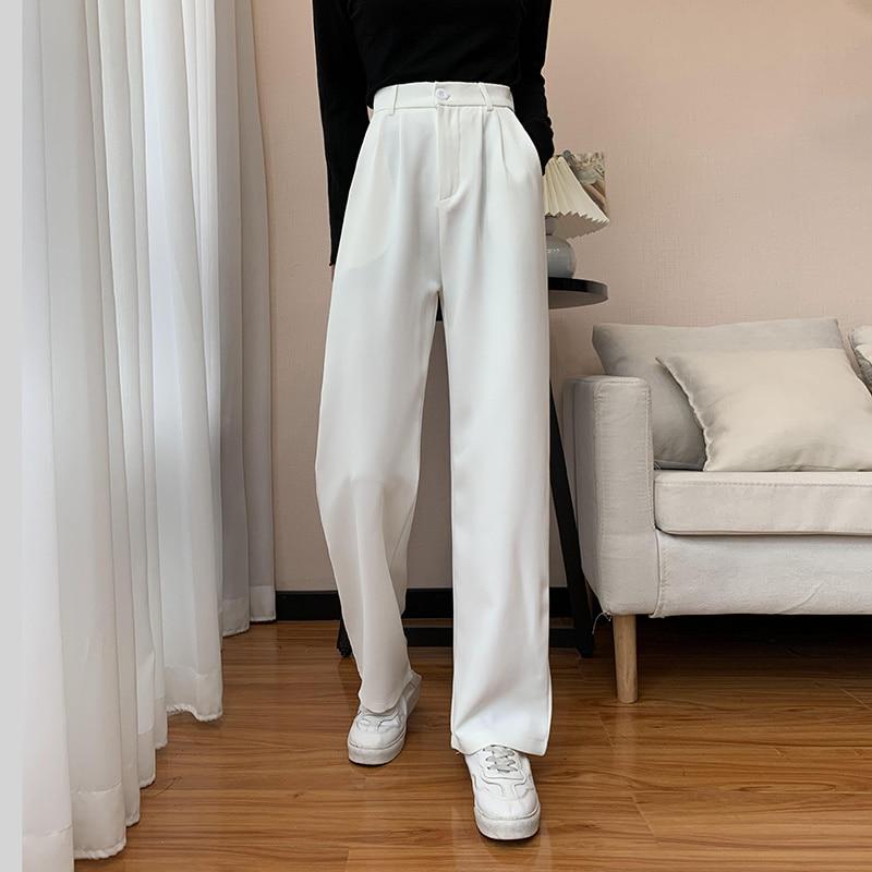 White Suit Pants Women's Summer High Waist Hanging Feeling Floor Dragging Leisure Pants Straight Loo