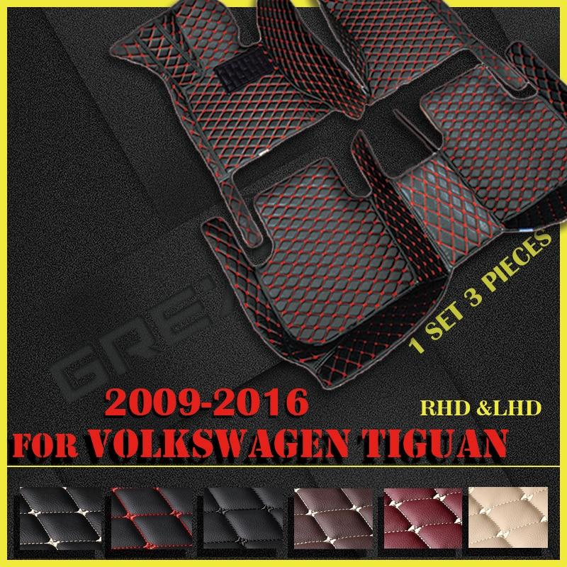 الحصير سيارة ل Volkswagen تيجوان 2009 2010 2011 2012 2013 2014 2015 2016 مخصص السيارات القدم منصات السيارات السجاد غطاء