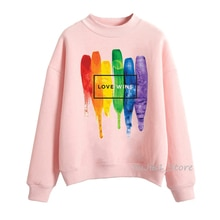Sudadera-sweat à capuche pour femmes, style Lgbt, Gay Love, style arc-en-ciel, rose, Harajuku, 2019
