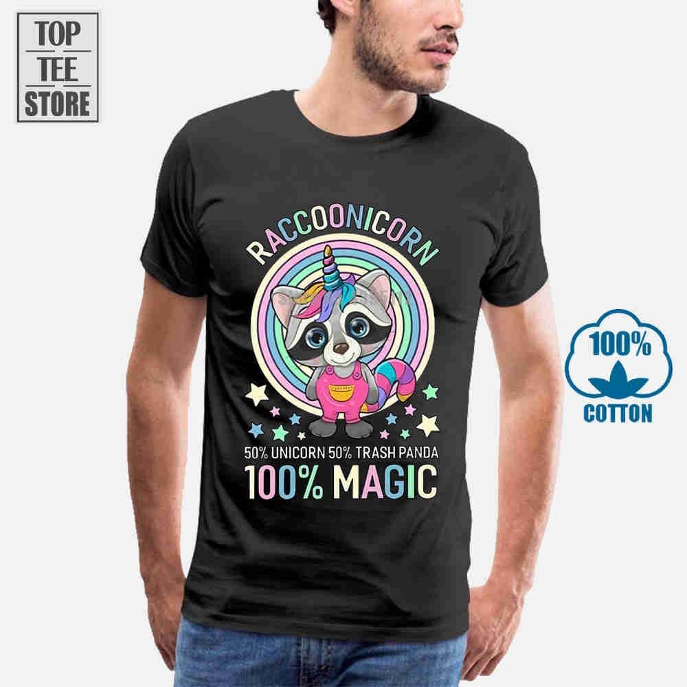 Raccoonicorn 50% unicornio 50% basura Panda 100% Negro Mágico camiseta M 6 Xl