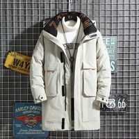 90 duck down mens long down jacket with letters stand up collar hooded thick jacket zipper down jacket casual winter