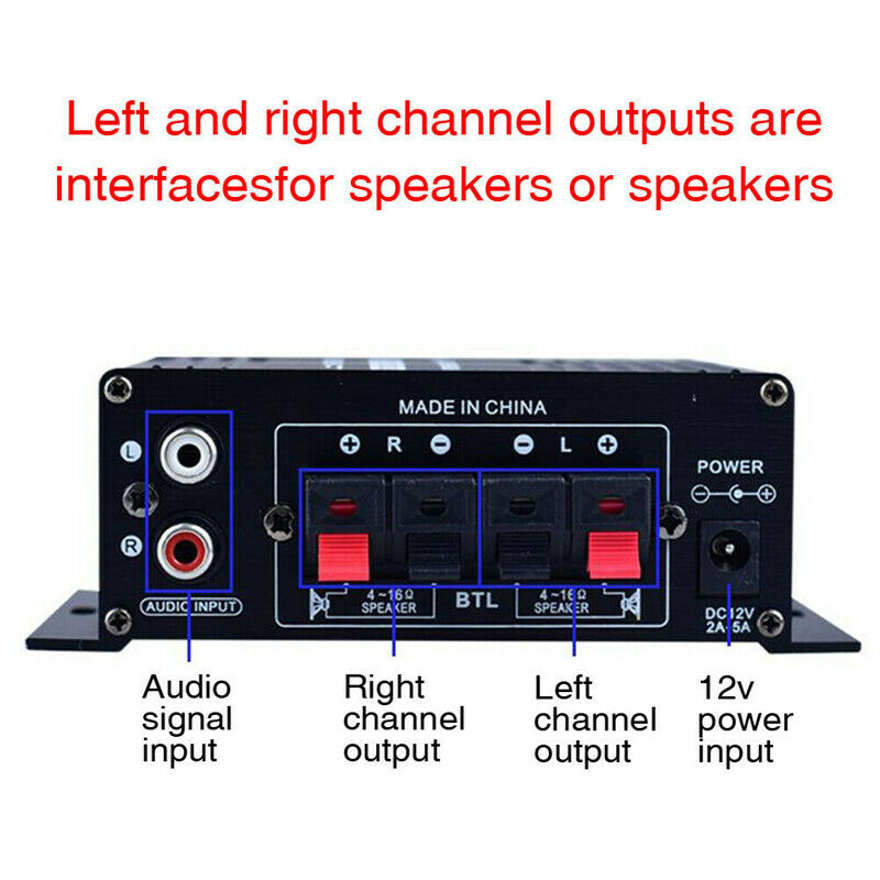 AK170 12V 400W HIFI Digital Stereo Audio Power Amplifier FM Radio Audio Player Car Home Amplifier Aluminum Alloy High Quality enlarge