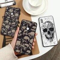 skull pattern horror skeleton phone case for xiaomi redmi note 7 8 9 t max3 s 10 pro lite coque funda shell cover