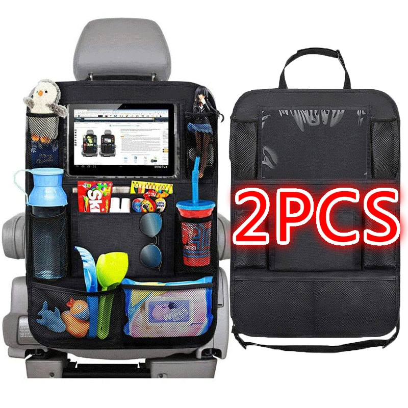 1pc/ 2pcs Car Seat Back Organizer 9 Storage Pockets with Touch Screen Tablet Holder Protector for Ki