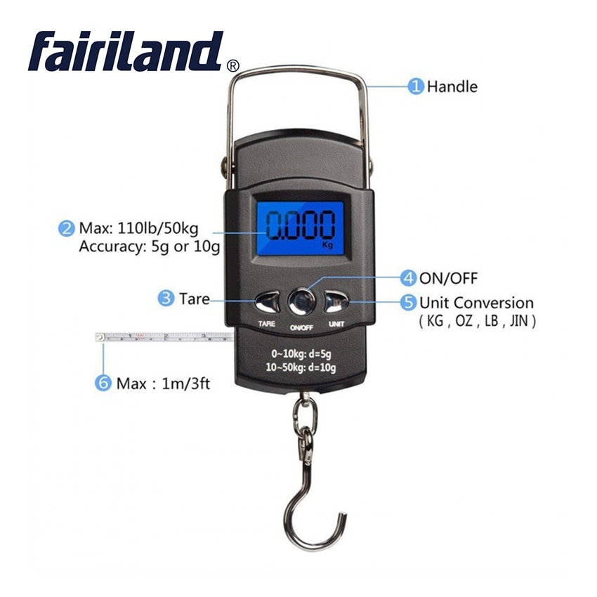 Luggage Fishing Scale 50kg/10g Digital LCD Display Suitcase Travel Handheld Weighing Hanging Scale Fishing Balance Weight enlarge