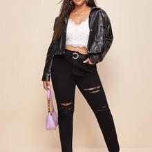 Man made leather jacket women 2021 spring autumn casual zipper shrug winter long sleeve jacket women