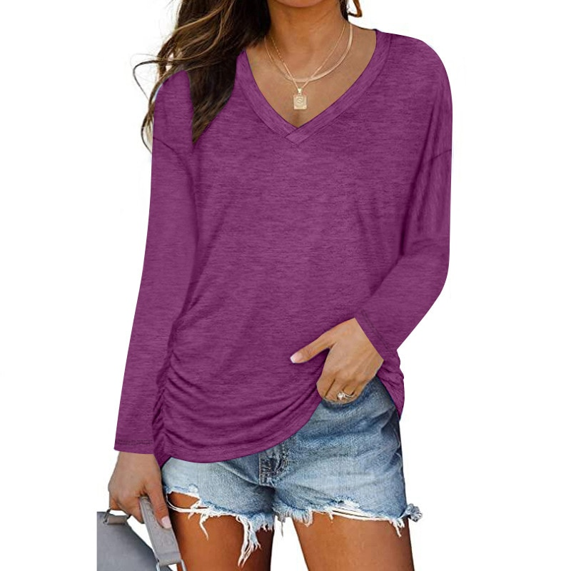 T-Shirts Summer Tees Top Women Clothes Loose Solid Color Female T Shirts V-Neck Full Sleeves Blouse Cotton Harajuku Femme