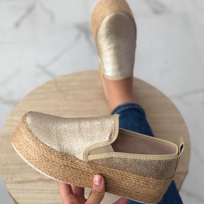 Женские эспадрильи, белые кожаные кроссовки на толстой подошве, с круглым носком, повседневная обувь на платформе, 2021
