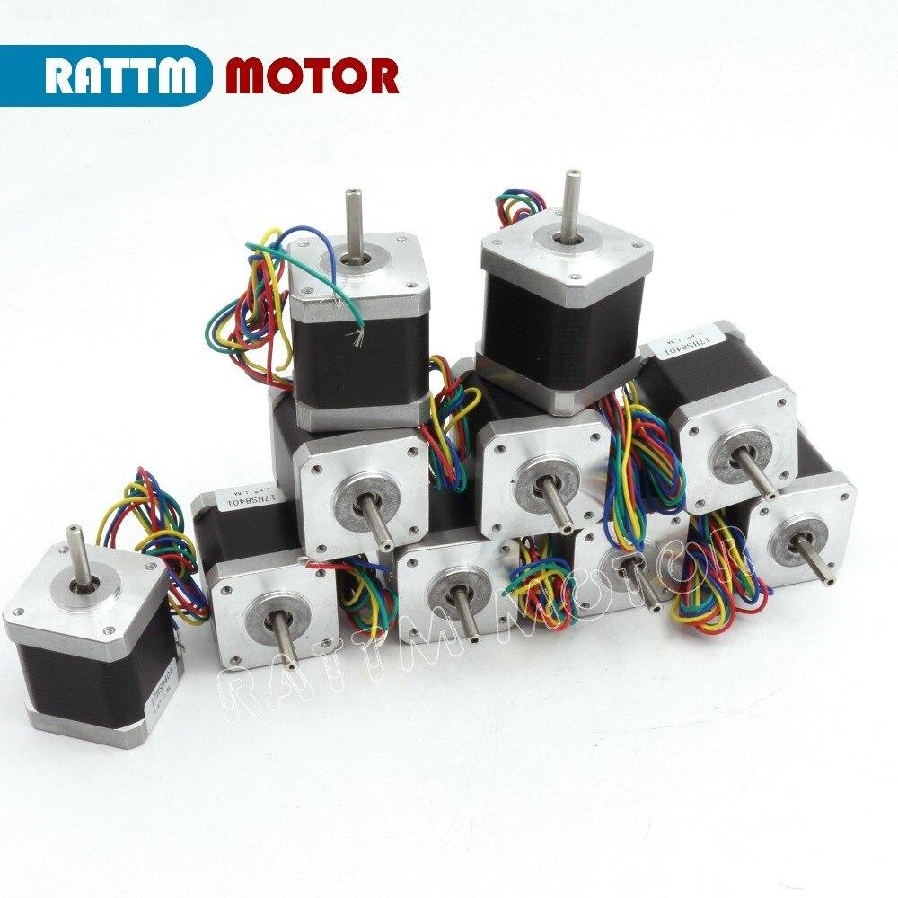 10 Uds NEMA17 78Oz-in 48mm de longitud 1.8A 1.8deg motor paso a paso para 3D Robot de impresión CNC máquina de grabado Con Enrutador