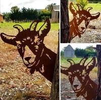 farm peeping cow metal garden statues garden decoration outdoor garden backyard lawn stakes metal cowyard decoration gift