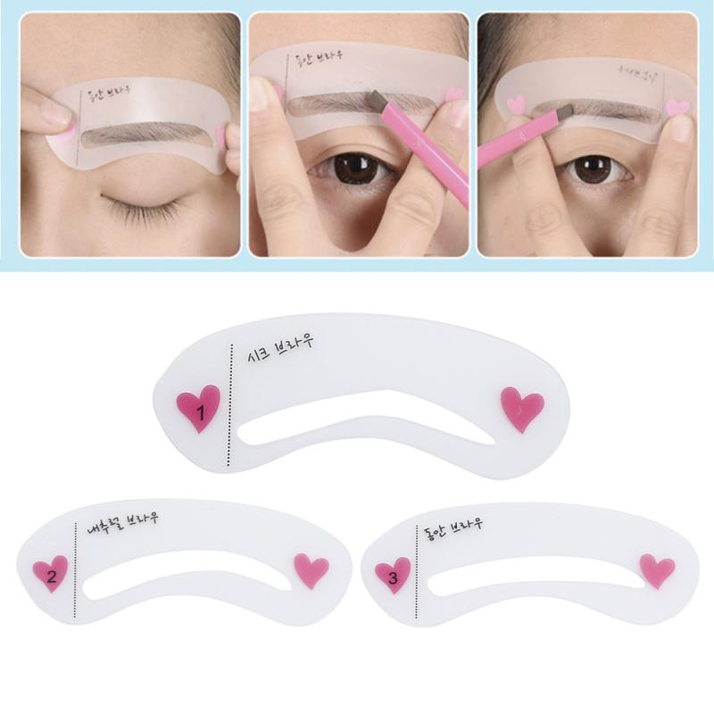 3 Styles Eyebrow Shaping Stencils Grooming Kit Makeup Shaper Set Template Tool For Women Beauty Mode