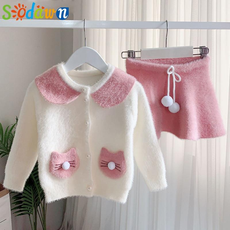 Sodawn Autumn Autumn Winter Childrens Leopard Sweater Skirt Two Piece Suit Woollen Clothing Set Long Sleeve Kids Girls Clothes