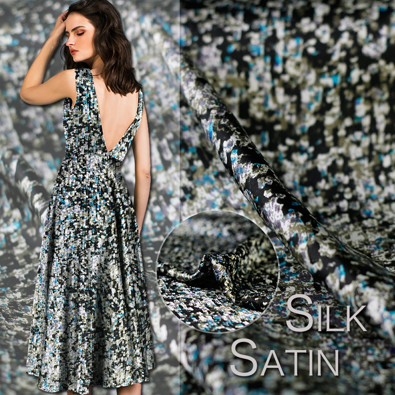 Flor base negra de frambuesa roja, tela de ropa de textura de satén de crepé de seda, tejido para Vestido de satén envío gratis