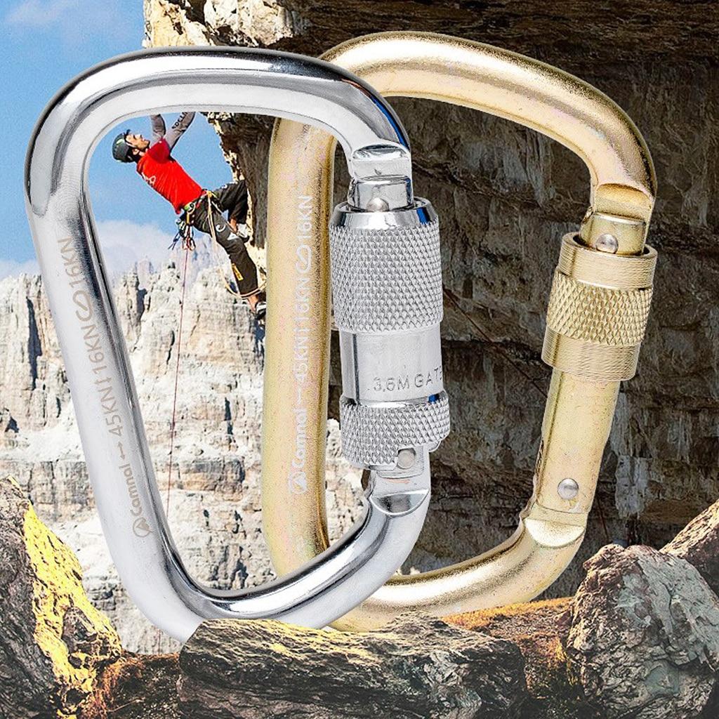45kn torção porta mosquetão bloqueio automático escalada espeleologia resgate rapel durável ferramentas ao ar livre