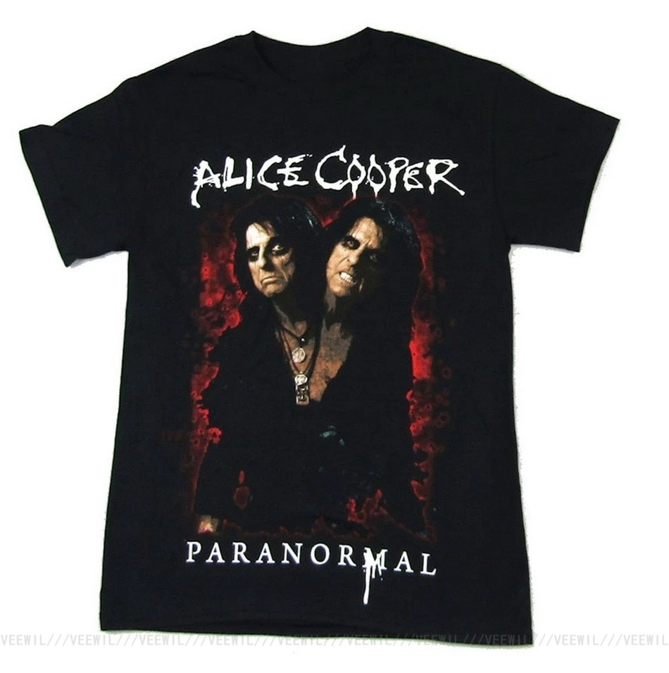 Camiseta negra de Alice Cooper para mujer, camiseta Paranormal de la gira...