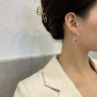 s925 needle women jewelry heart earring pretty design sweet korean metal alloy golden silvery plating drop earrings for girl