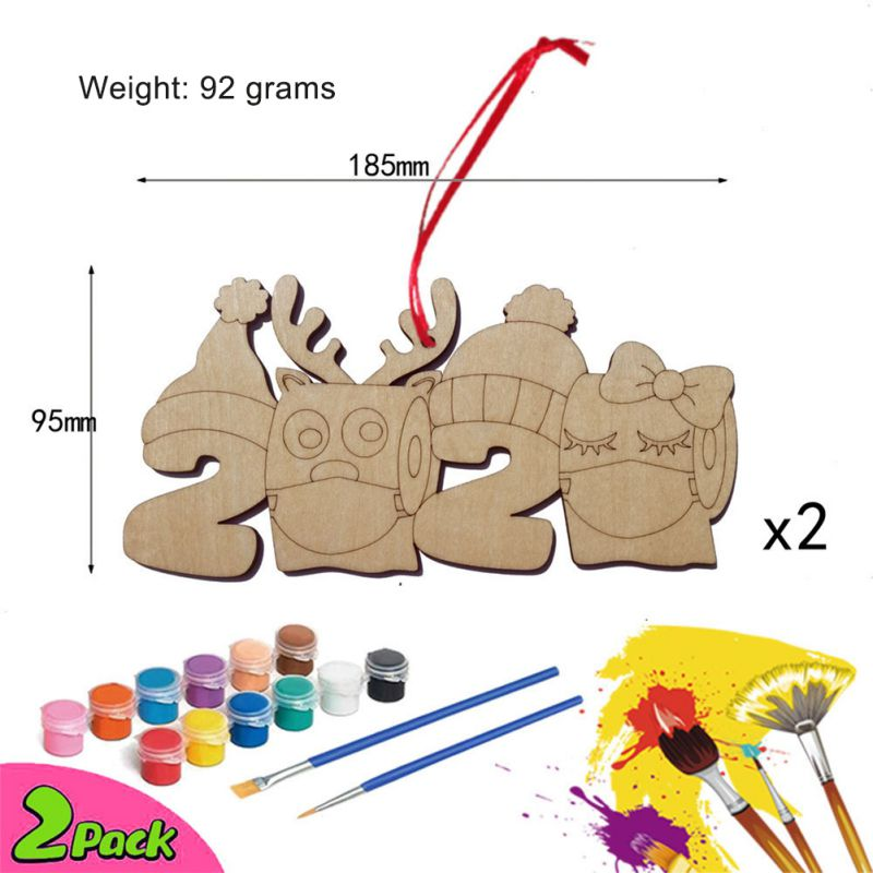 2pcs 2020 Wooden Christmas Ornaments Face Shield Hand Sanitized Toilet Paper Hand Painted Pigment DIY Xmas Decoration
