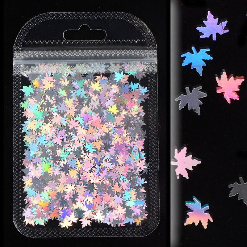 3D Glitter Maple Leaf Flake Nail Sequins Holographic Nail Glitter Nail Art Decoration Mix Color DIY Nail Art  Glitter Flakes