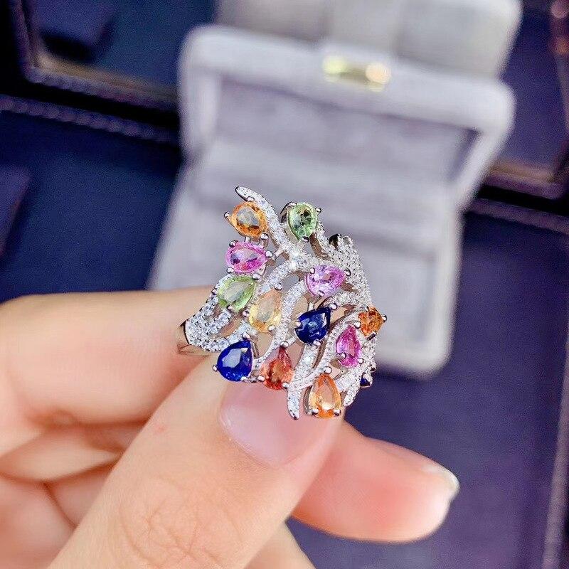 موضة البرسيم لطيف S925 فضة الطبيعية متعدد الألوان الياقوت جوهرة خاتم خاتم الأحجار الكريمة الطبيعية امرأة فتاة حفلات الزفاف هدية مجوهرات