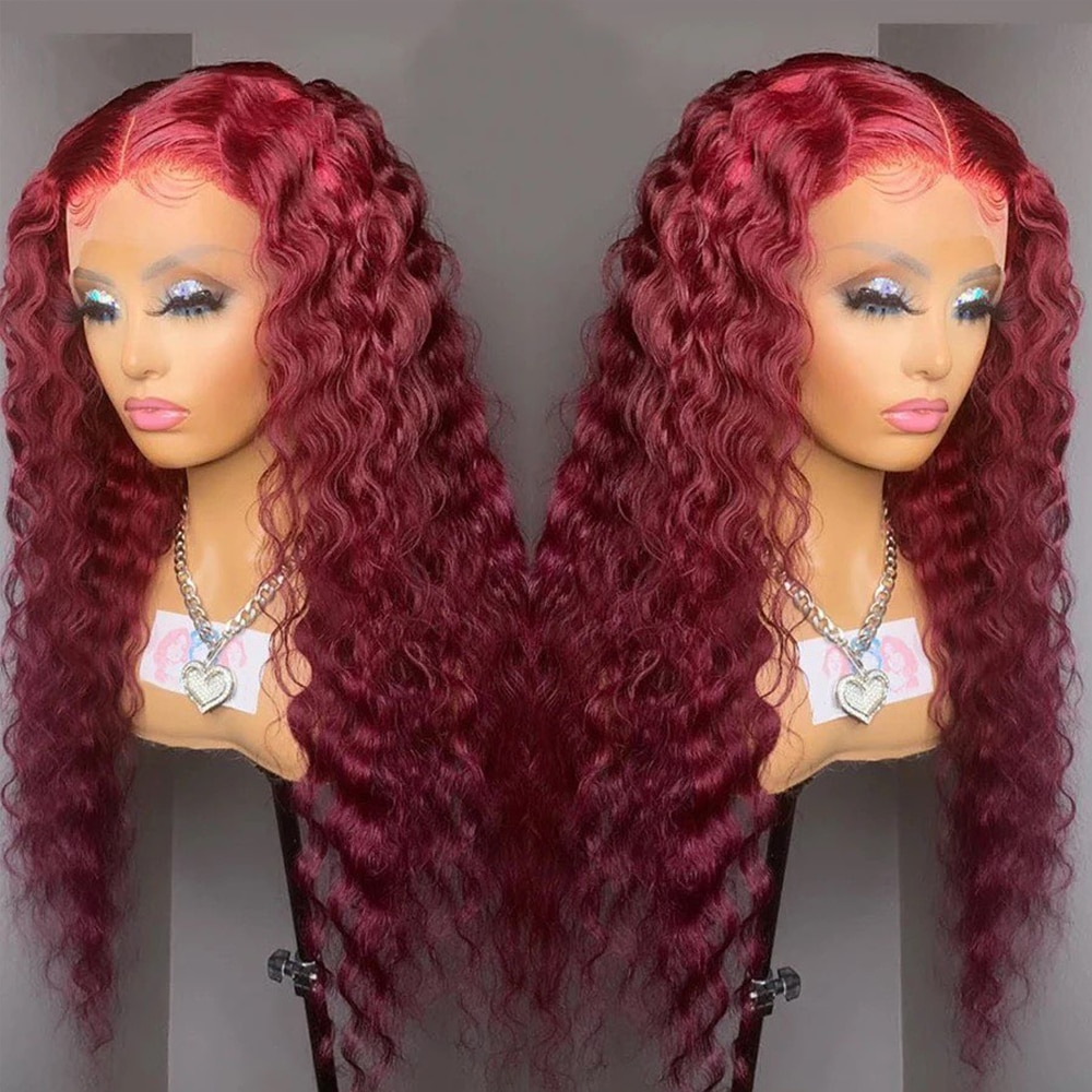 Burgundy 99J Lace Front Human Hair Wigs Kinky Curly 13X4 Lace Wigs For Women Human Hair