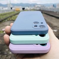 Роскошный оригинальный квадратный жидкий силиконовый чехол для телефона iPhone 12 13 11 Pro Max Mini XS X XR 7 8 Plus SE 2, тонкий мягкий чехол карамельных цвет...