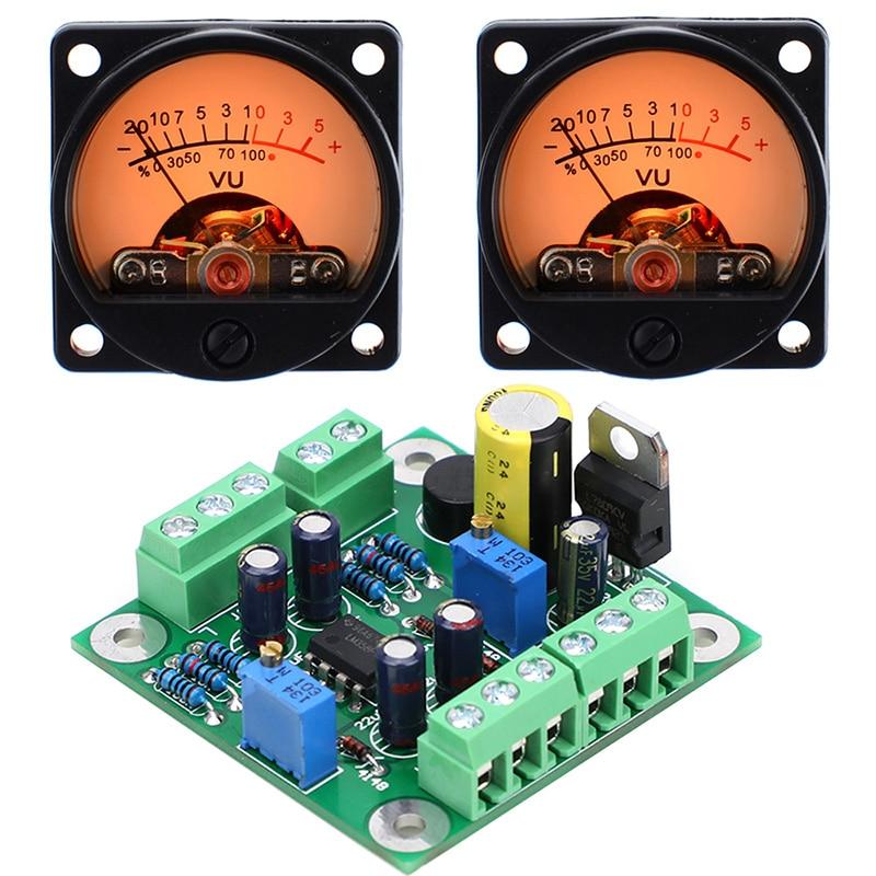 Free postage VU level audio meter driver board + 2pcs VU meter with warm color sound pressure meter 9V-20V AC input