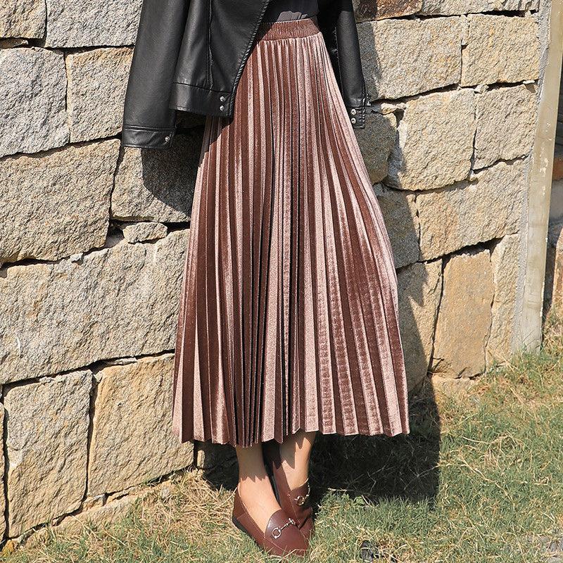 elegant high waisted solid color midi skirt for women HOUZHOU Autumn Winter Women Velvet Pleated Long Skirts Solid High Waisted Midi Skirt Korean Fashion Causal Elegant Office Lady