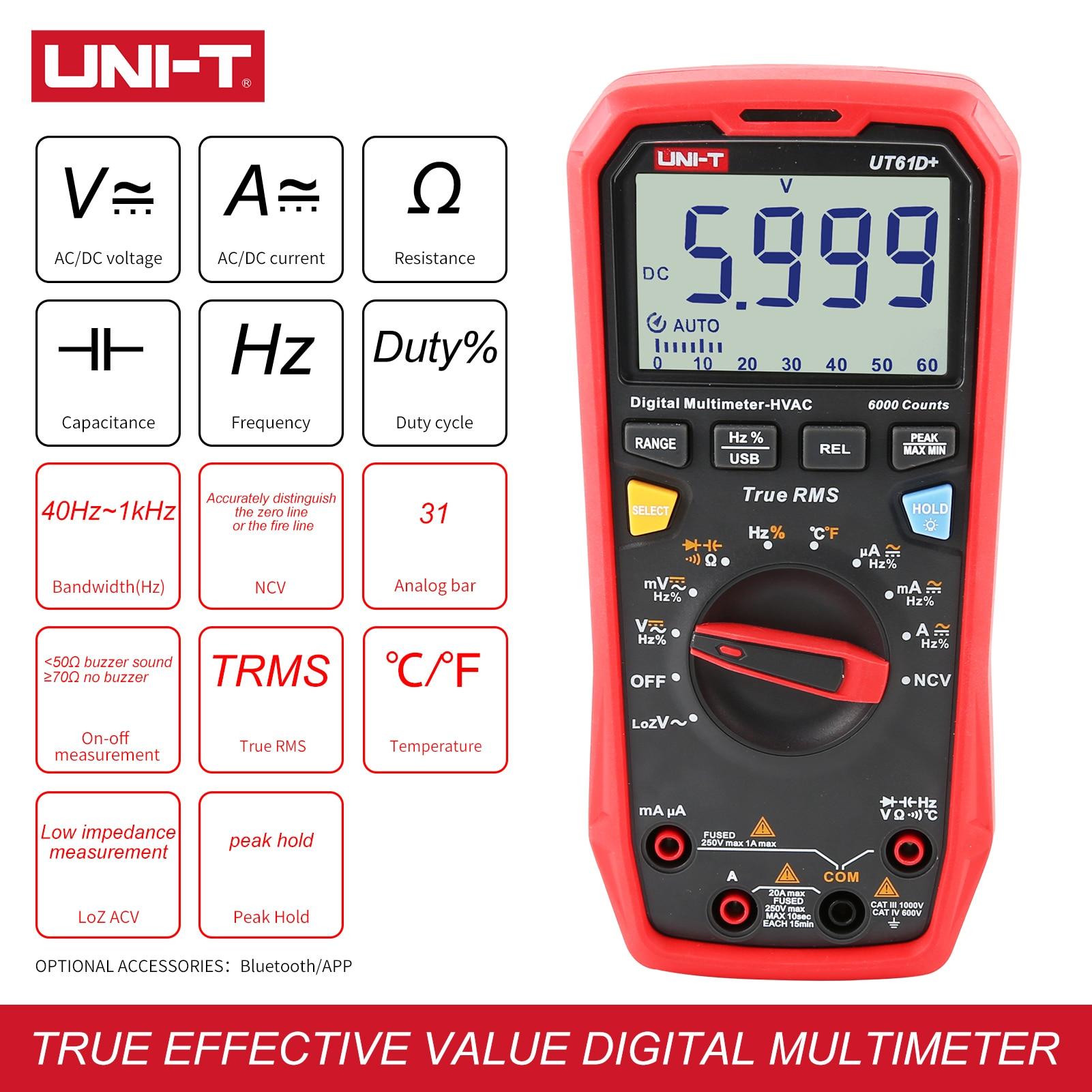 UNI-T UT61D+ Digital Multimeter 1000V True RMS C/DC Voltage Current Resistance Capacitance Tester