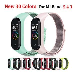 For Mi Band 5 4 3 Smart Watch Nylon Strap for Xiaomi Mi Band 3 4 5 Watch Band Silicone Bracelet Sport Wristband Breathable Brace