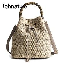 Johnature lato 2020 nowa torba słomy koreański mody tkane sznurek wiadro jednolity kolor przyczynowe torby na ramię i Crossbody torebki