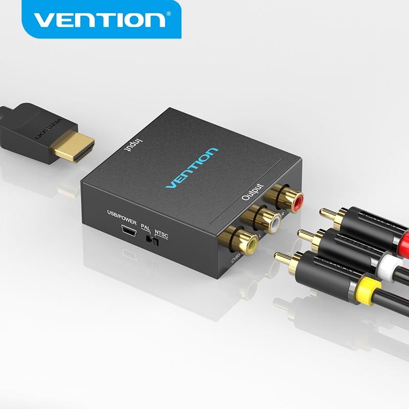 Vention-محول HDMI إلى AV ، محول فيديو 1080 بكسل ، RCA CVBS L/R ، مع كابل طاقة USB صغير لصندوق التلفزيون ، AV ، HDMI