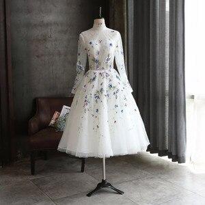 2021 Embroidery Tea Length Evening Dresses Long Sleeves High End Evening Gowns New High Collar Backless Abiye Vestido De Festa