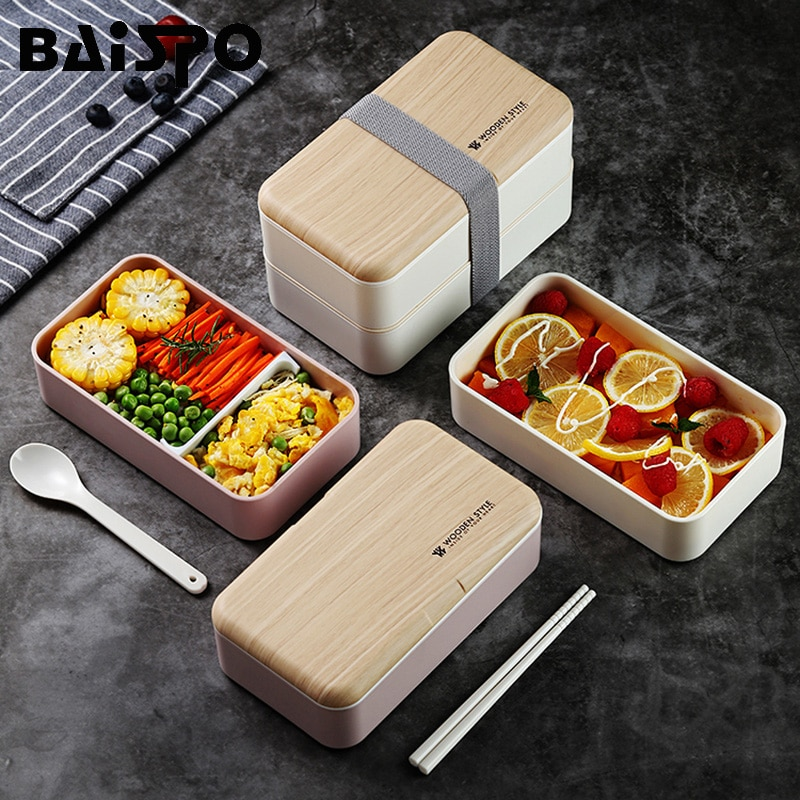 Lonchera de doble capa Baispo, caja Bento para microondas de madera de 1200 ml, contenedor portátil para alimentos para estudiantes japoneses, libre de BPA