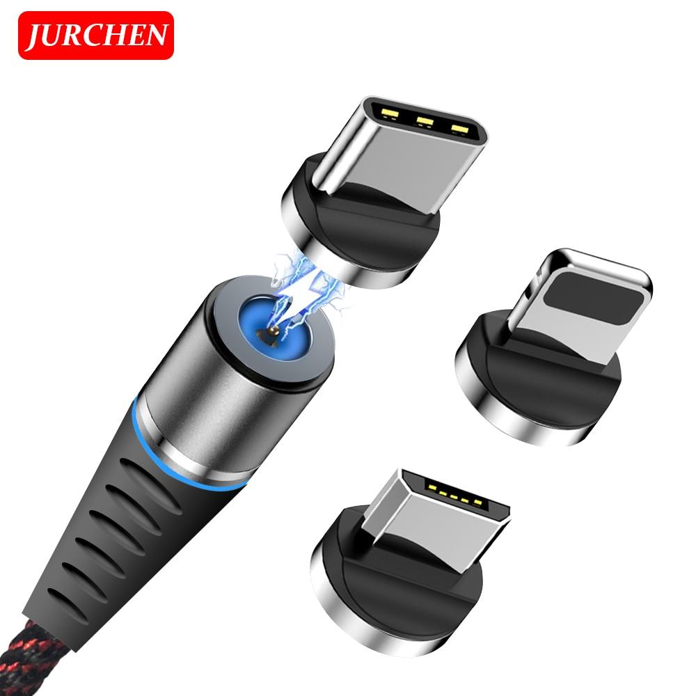 Jurchen magnético carregador de telefone cabo micro usb cabo de alimentação tipo c para iphone samsung huawei xiaomi android cabo móvel usb cabo