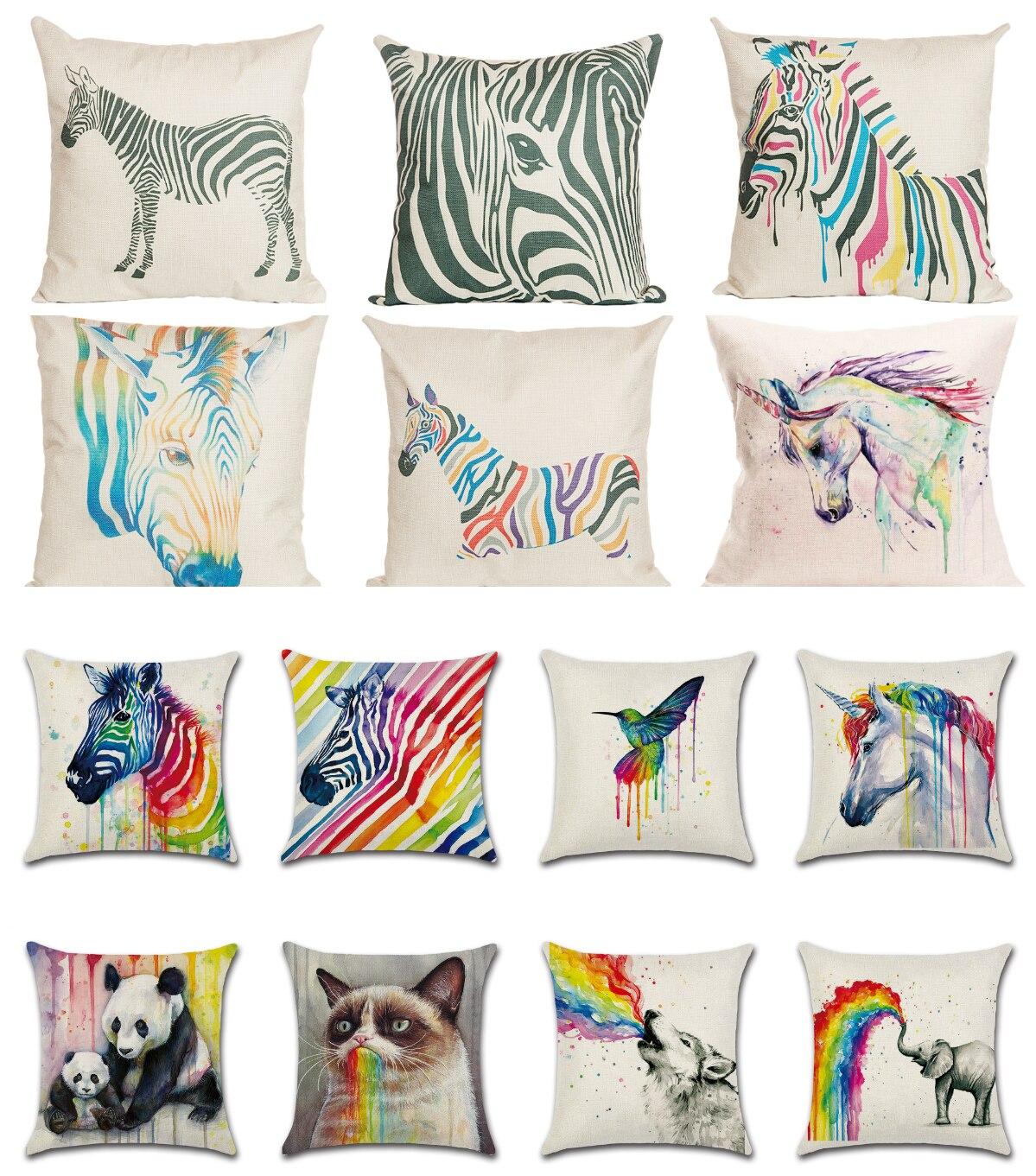 Nuevos animales calientes cebra unicornio elefante Lobo funda para almohada con aves Lino Premium tiro fundas decorativas para almohadas hogar sofá Navidad
