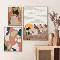 Affiche de paysage abstraite nordique  mode Vintage fille  tableau dart mural  peinture sur toile imprimee  salon chambre a coucher  decoration de la maison